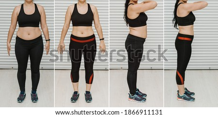 Woman posing before and after weight loss diet. Diet weight loss transformation Stock photo ©
