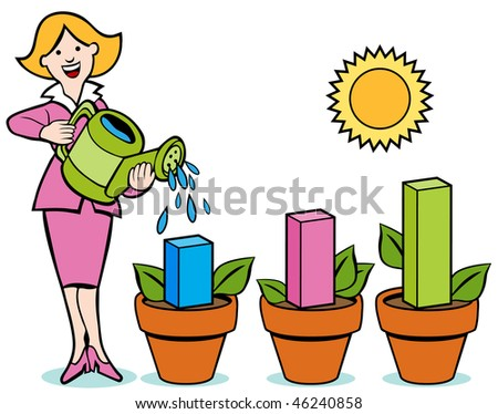 Woman pouring water on business chart flower pots.