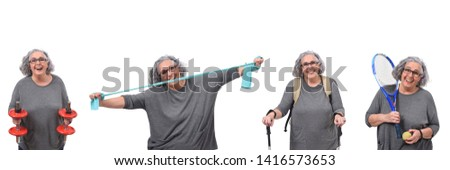 woman practicing exercises on a white background