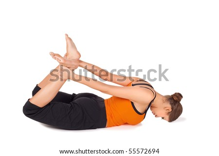 woman practicing first stage of yoga exercise called bow
