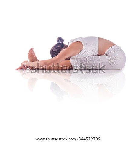Woman practicing yoga doing the