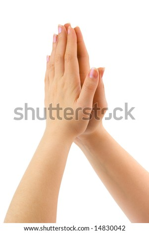 Woman praying hands isolated on white background