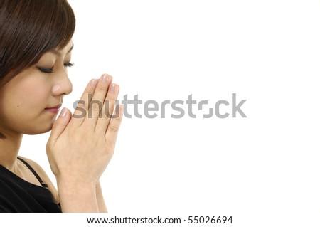 Woman Praying on white
