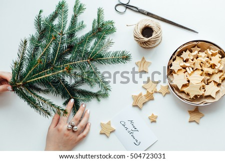Woman preparing accessories for Christmas decorations #504723031