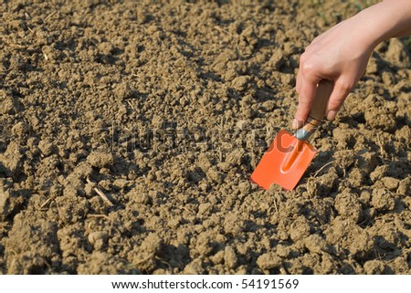 Woman preparing soil for spring gardening with a small shovel - copyspace - stock photo