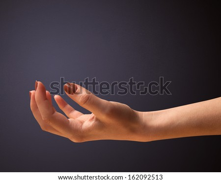 Woman presenting empty space