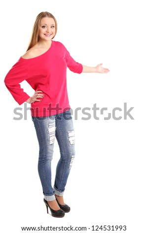 Woman presenting something