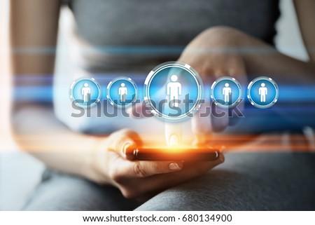 Woman press button. Human Resources HR management Recruitment Employment Headhunting Concept