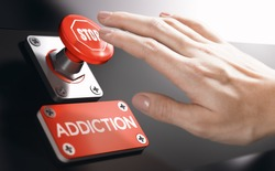 Woman pressing a panic button with stop sign to overcome addiction or dependence problems. Psychology concept.