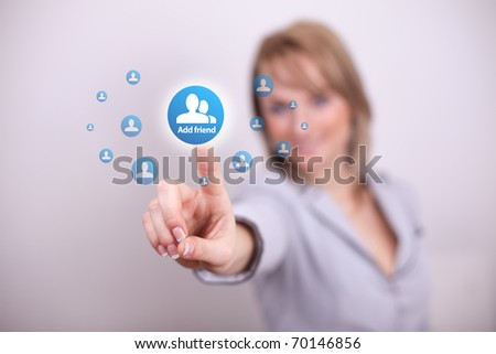 Woman pressing social add friend button with one hand