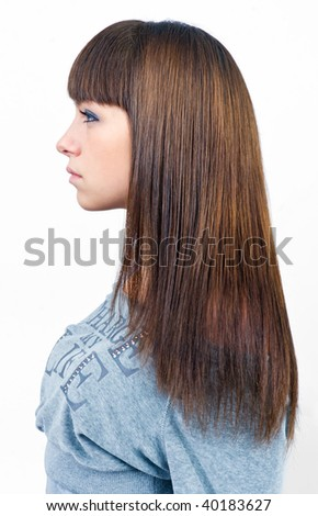 woman profile with hair done