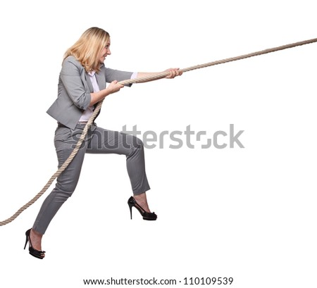 woman pull the rope on white background