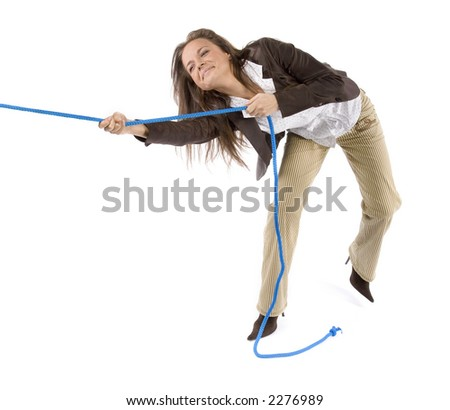 woman pulling the rope (white background)