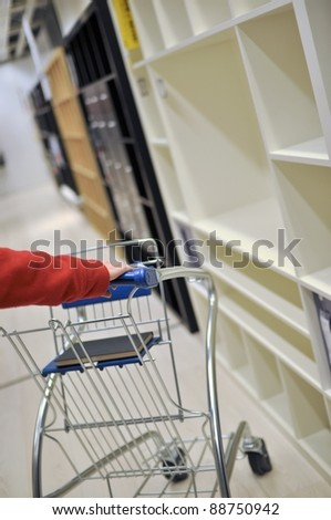 Woman pushing shopping cart in furniture store