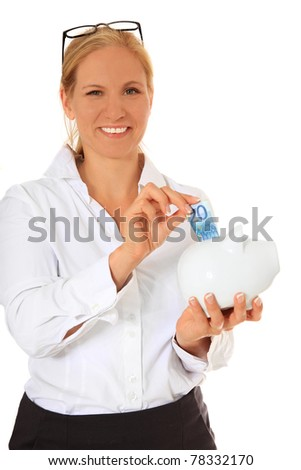 Woman puts money in piggy bank. All on white background.