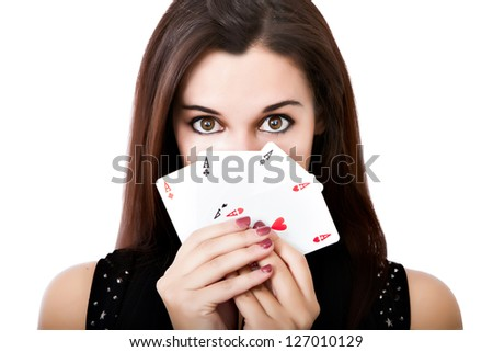 woman queen of poker aces