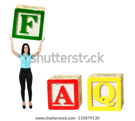Woman raise letter from word FAQ