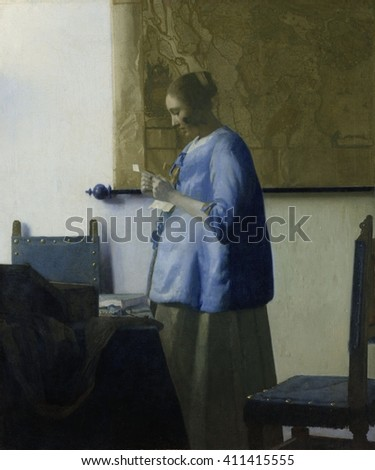 Woman Reading a Letter, by Johannes Vermeer, 1663, Dutch painting, oil on canvas. A young woman in a blue jacket, stands by a table with chairs. A large map hangs on the wall behind her