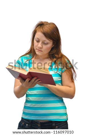 Woman reading book isolated on white background