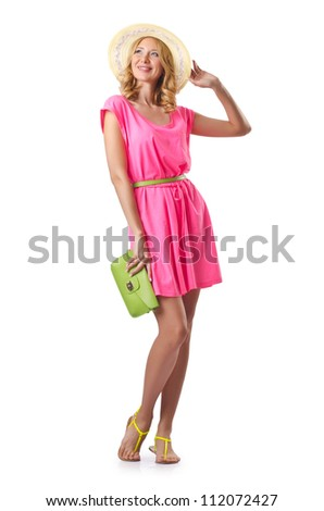 Woman ready for beach on white