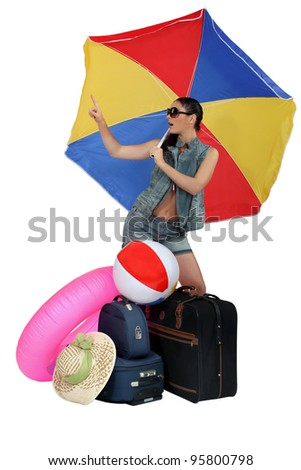 Woman ready for her beach holiday