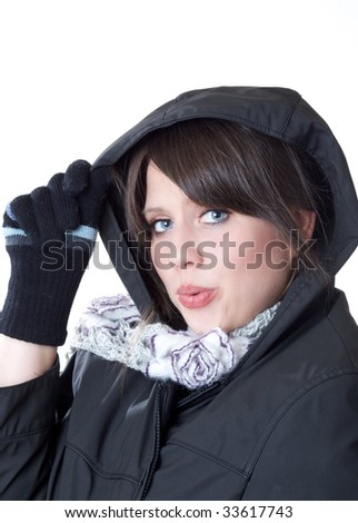 Woman ready for winter; isolated on a white background
