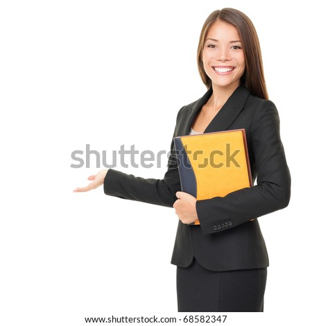 Woman real estate agent / realtor showing open hand showing blank space for advertisement. Isolated on white background.