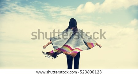 Woman Rear View Arms Outstretched Carefree Cloudscape Concept