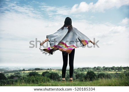 Woman Rear View Top Mountain Carefree Cloudscape Concept