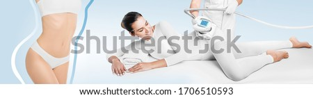 woman receives LPG massage to remove cellulite from her body, thighs and buttocks. Anti-cellulite massage with LPG massager. Beautifully slender body, removal of skin stretch marks and cellulite