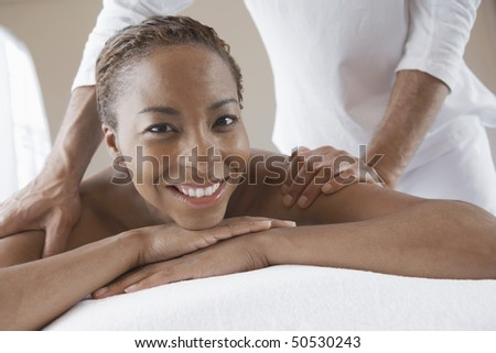 Woman Receiving a Massage, head and shoulders