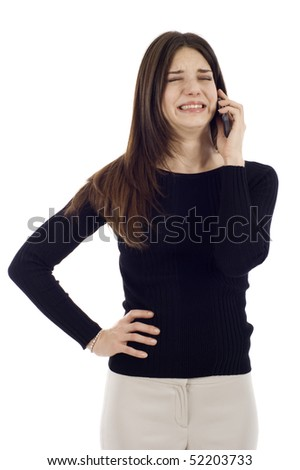 Woman receiving bad news on the phone isolated over a white background