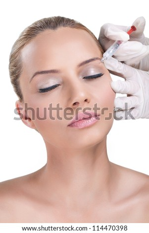 Woman receiving botox injection, Beauty Treatment