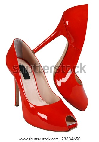 Woman red high shoe on white background