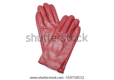 Woman red leather gloves