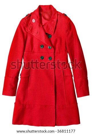 Woman red long coat isolated on white background