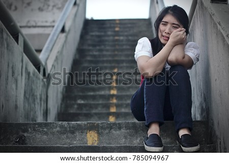 Woman regrets crying Lonely #785094967