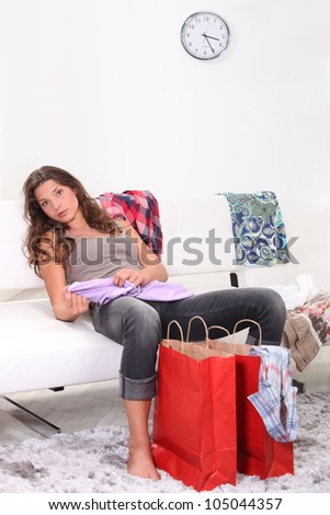 woman relaxing after shopping