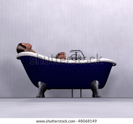 woman relaxing in bath - stock photo