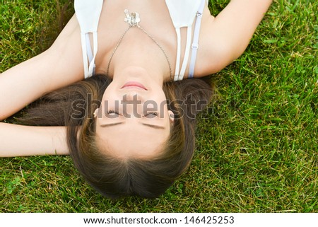 Woman relaxing in natural environment