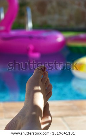 woman relaxing on a pool