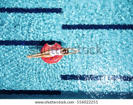 Pool girls images - Rectangle pool aerial view ...
