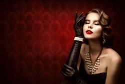 Woman Retro Beauty Portrait, Fashion Model Make Up Hairstyle, Elegant Lady Old Fashioned Style