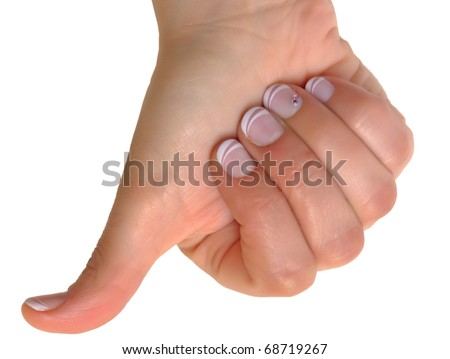 Woman right hand pressing something with thumb