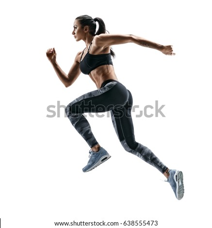 Woman runner in silhouette on white background. Dynamic movement. Side view #638555473
