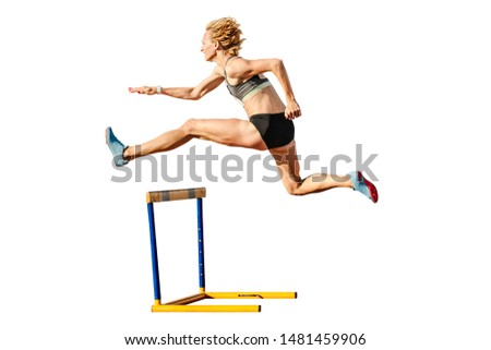 woman runner to run 400-meter hurdles isolated on white background