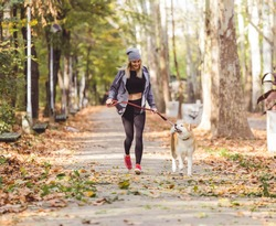 Woman running and walking in beautiful park with akita dog.