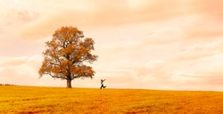 Woman running happily on a meadow with a tree in autumn
