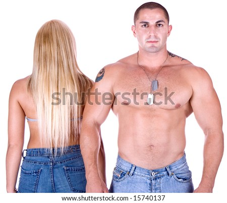 Woman's back and man's front - stock photo