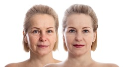Woman's face before and after makeup. Close up